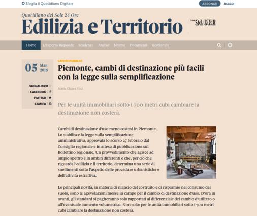 Edilizia e territorio Piemonte cambio destinazione