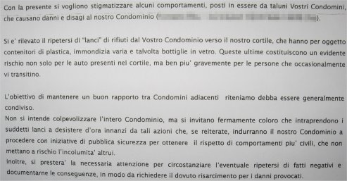 La lettera di protesta dell'amministratore di condominio