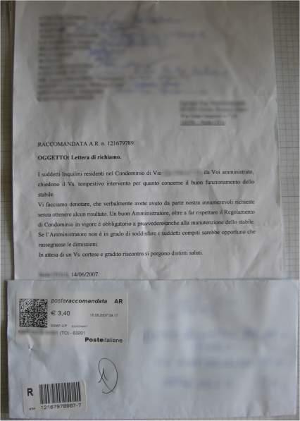 La lettera all'amministratore del condominio
