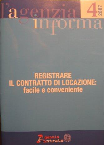 Copertina opuscolo informativo: - registrare contratto di locazione: facile e conveniente - Agenzia Entrate