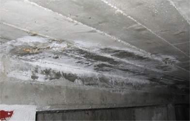 Fioritura su un muro di cemento di una cantina dovuto ad infiltrazioni di umidità al suo interno